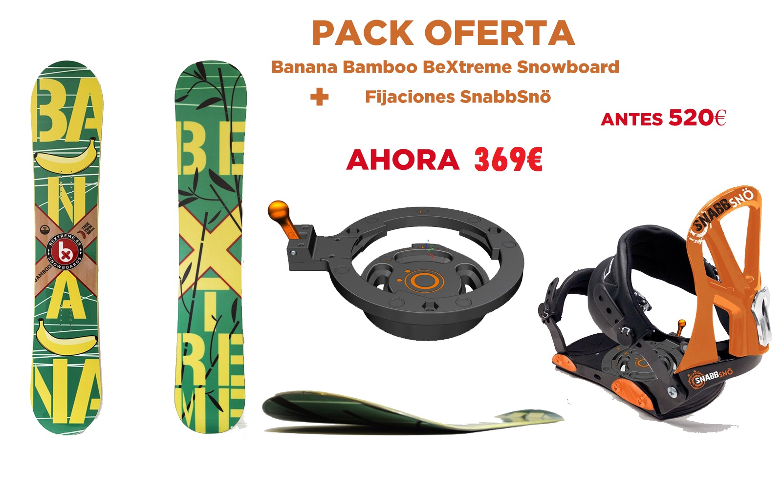 Snowboards BeXtreme con fijaciones snow SnabbSnö