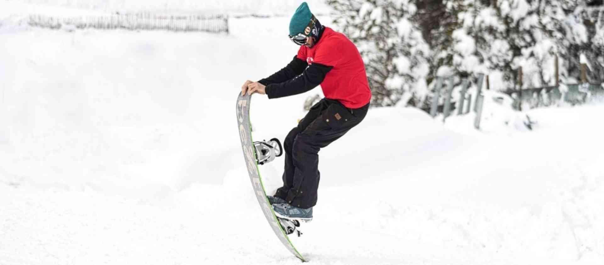 Miki testando snowboard ecológico BeXtreme
